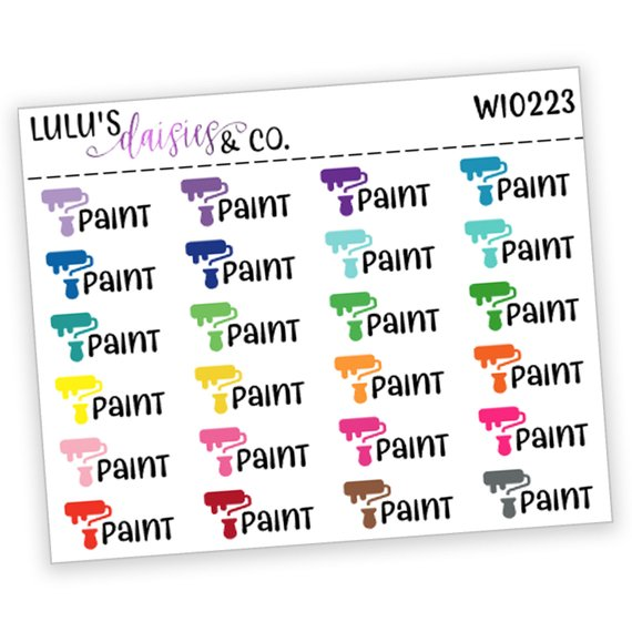 Colorful Paint Roller Stickers by Lulu's Daisies and Co - planner stickers for home improvement showing colorful paint rollers and the words paint