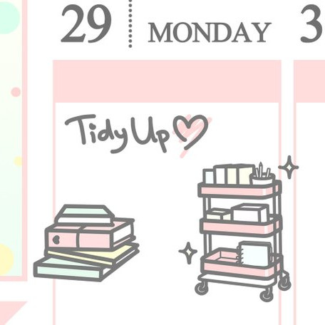 Pretty planner stickers for organizing, they show an IKEA Raskog Craft Cart, planner supplies, and the words tidy up