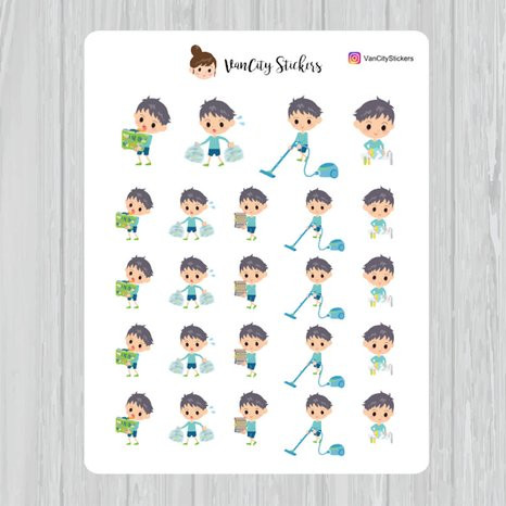 Chore Chart Stickers by Van City Stickers featuring a boy doing chores like laundry, taking the trash out, vacuuming, and more.