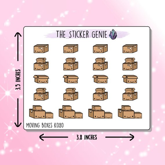 Kawaii Moving Boxes Stickers by The Sticker Genie