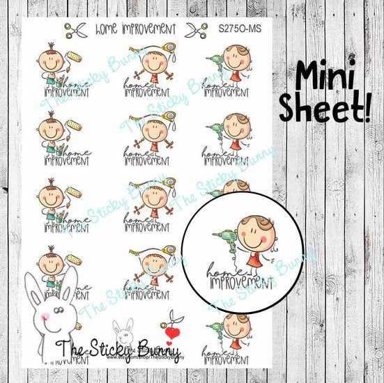 Happy Kids Home Improvement Stickers by The Sticky Bunny - planner stickers showing happy kids doing home improvement like painting and using a drill.