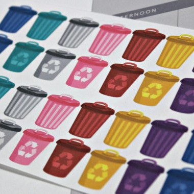 Trash Day Reminder Stickers by Pretty Cute Planner featuring colorful trash cans and recycling bins