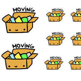 Kawaii Moving Box Stickers by AnnisCrafts - Kawaii moving box planner stickers