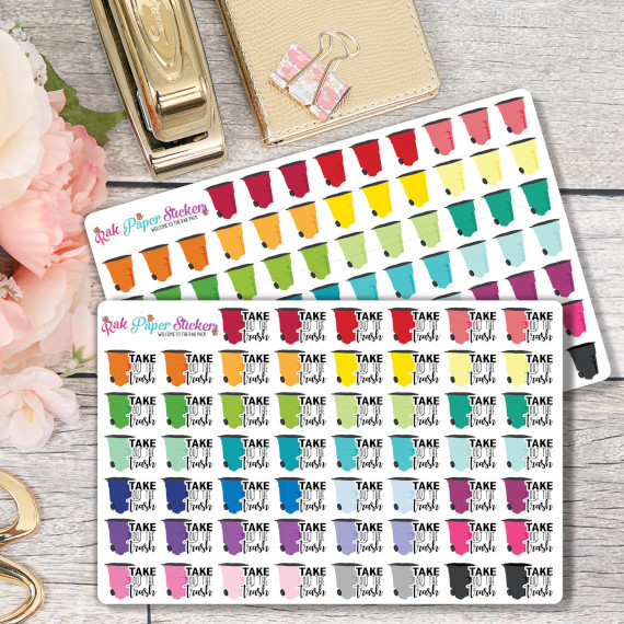 Trash Night Planner Stickers by RAK Paper Stickers featuring colorful garbage cans and the words take out the trash