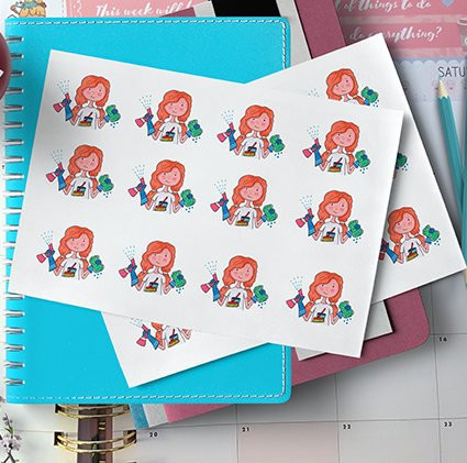 Cleaning Girl Sticker Clip Art by Cute Little Clip Art featuring a redheaded girl holding a sponge and spraybottle.
