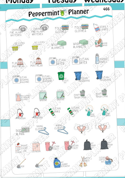 Everyday Chores Planner Stickers by Peppermint Planner