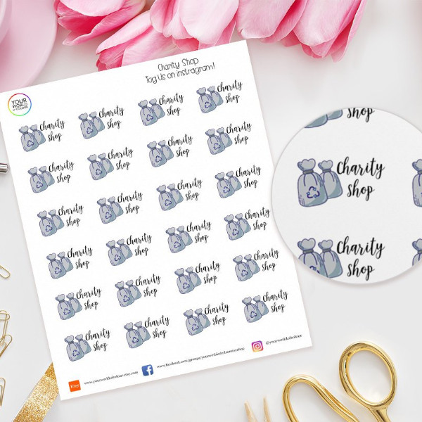 Planner stickers inspiring you to declutter and donate goods to a charity shop