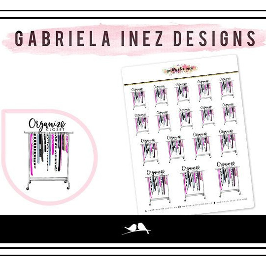 Feminine planner stickers showing a roll rack with clothes and saying Organize Closet