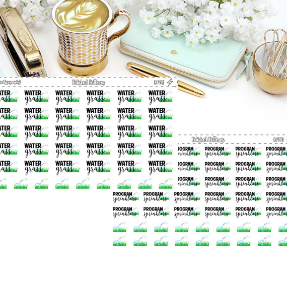 Water Grass Reminder Stickers by Polished Patterns - Planner stickers showing grass to remind you to water your grass