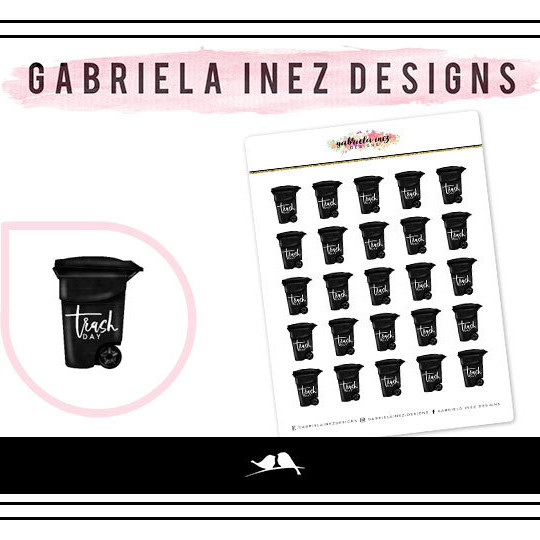 Garbage Day Stickers by Gabriela Inez Designs featuring a small black garbage can that says Trash Day on it