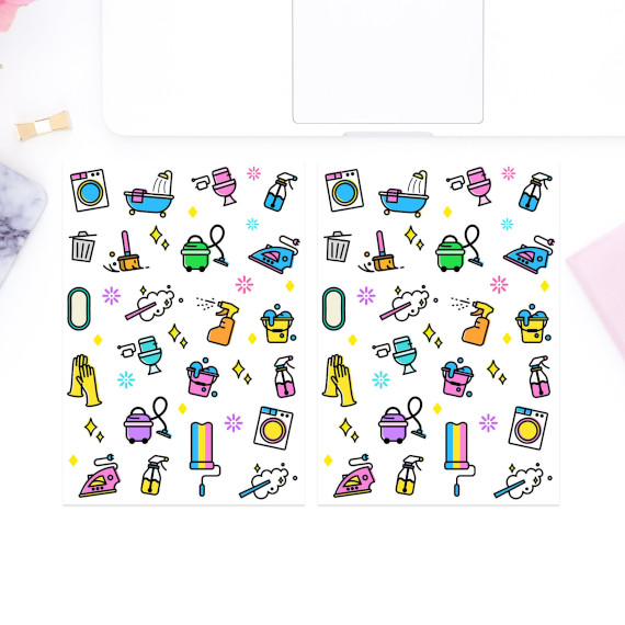Cleaning Planner Sticker Set by coconutacha featuring bright colored cleaning icons like vacuums, trash cans, tubs, spray bottles, irons, paint rollers, and more.