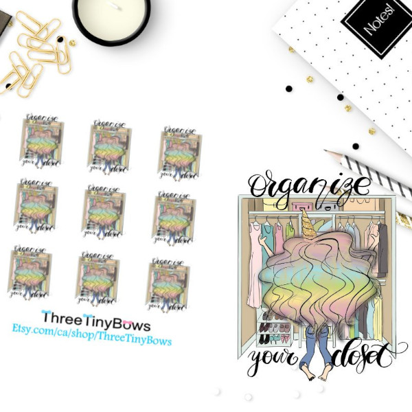 Organize Your Closet Planner Sticker featuring a unicorn girl with rainbow hair sorting her closet.