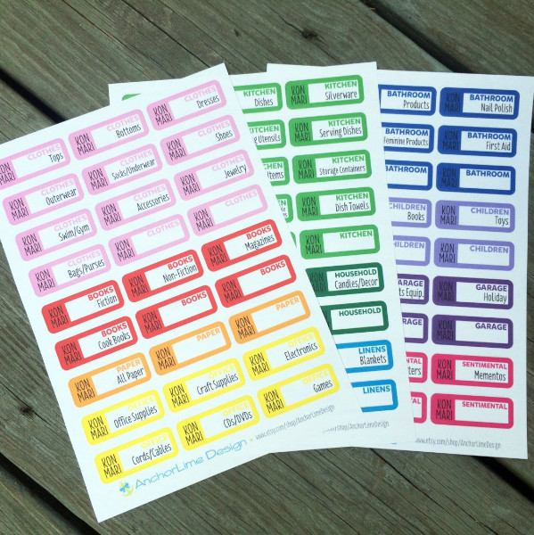 rainbow KonMari planner stickers with steps on what to declutter to help you get your home in order