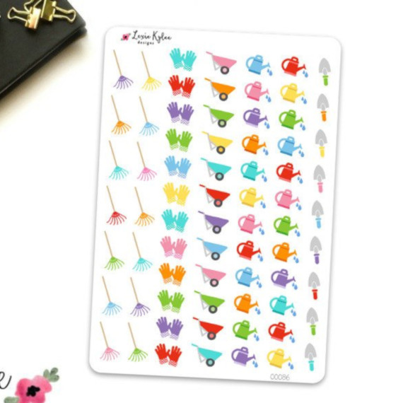 Yard Work Sticker Set by Lexie Kylee Designs - planner stickers featuring colorful yardwork icons like rakes, gloves, wheelbarrows, watering cans, and spades