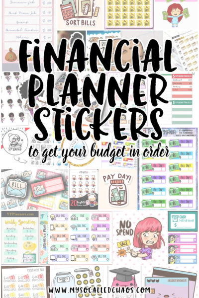 Financial Planner Stickers to help you get your budget in order. Keep track of spending, bills to pay, your income, and more with these fantastic stickers that fit any planner! #PlannerStickers #Budget